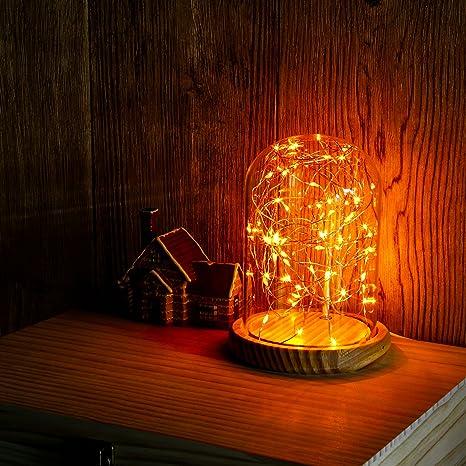 527c8b7c3 Omonic - Lámpara USB de cristal con forma de cúpula, base de bambú, luz