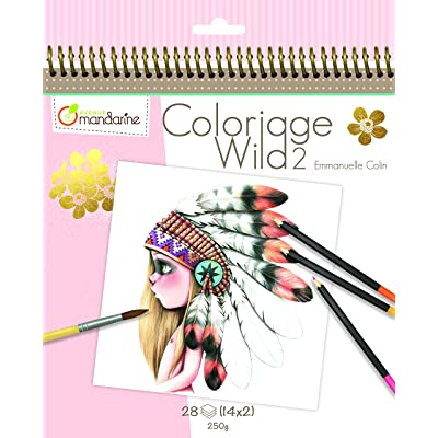 Avenue Mandarine GY068C - Carnet de Coloriage Wild 2 de 28 Feuilles - Imprimées à Colorier