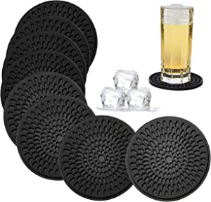KindGa Coasters for Drinks Black, Absorbent Rubber Coaster Set, Silicone Drink Coasters for Large Mug/Cup/Bottle, Deep Tray 4.3 Inch Oval Shape Jar Opener Heat-Resistant Grips (Set of 8)