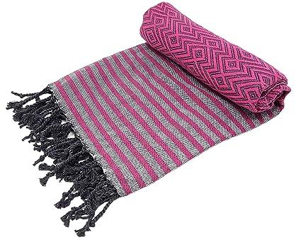 Bella Casa KELIM Hammam Towel Sauna Towel Peshtemal Fouta Beach Towel Bath Towel Hand Towel Cotton Backpacker 100 x 180 cm 100 x 180 cm khaki 100/% Cotton