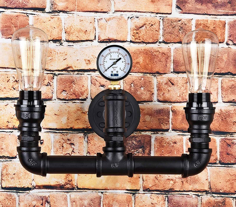 Vintage Steampunk Rohr-Wandleuchte im 2-Lampen-Design, Wasserstandsanzeiger Modern Schwarz LOMT