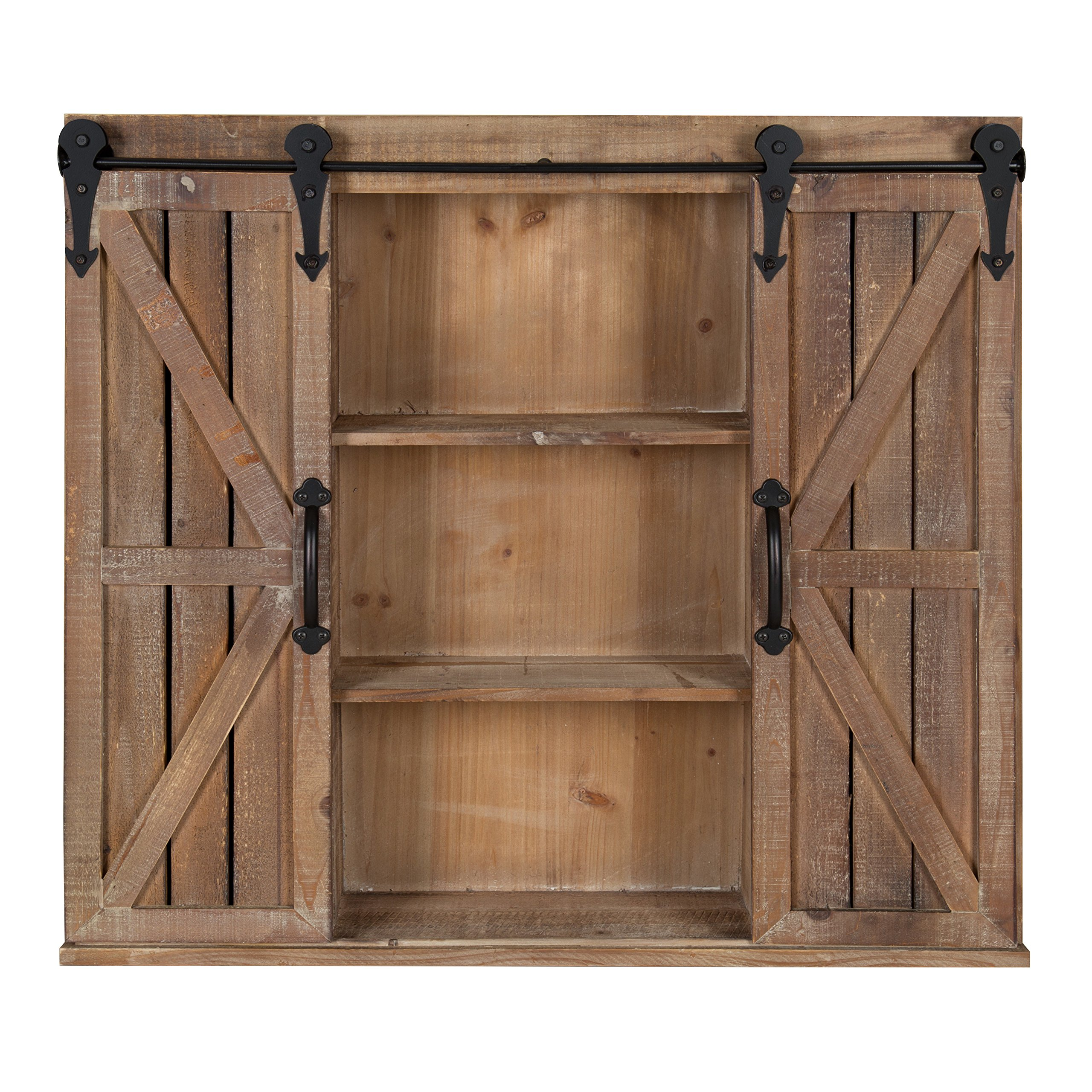 Kate and Laurel Cates Wood Wall Storage Cabinet with Two Sliding Barn Doors, Rustic Brown