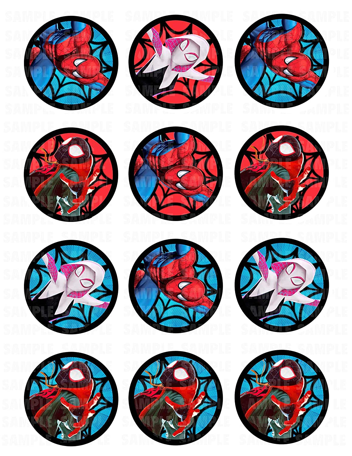 graphic about Free Printable Cupcake Wrappers and Toppers With Spiderman called Spider-Person Into the Spider-Verse Edible Cupcake Toppers (12