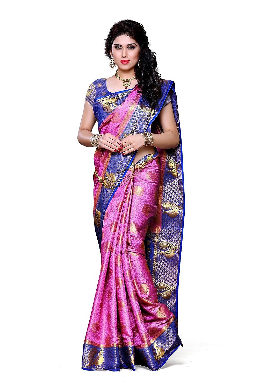 361e285d9578e8 Mimosa Women s Silk Saree (200-Pink-Rblu