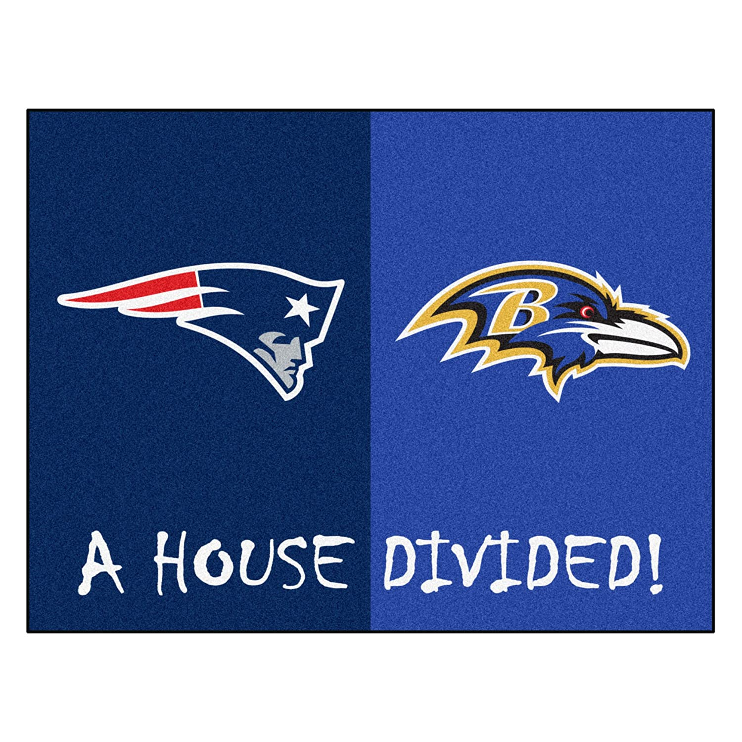Fanmats 18573 NFL House Divided Patriots/Ravens House Divided Mat