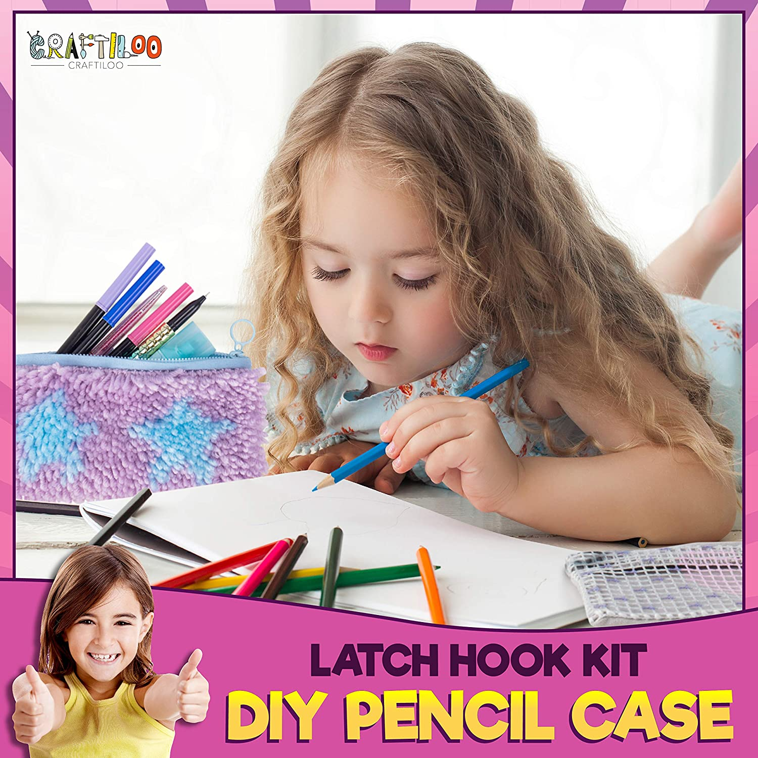 2 Latch Hook Starter Pencil Case DIY Sewing kit for Kids Beginners