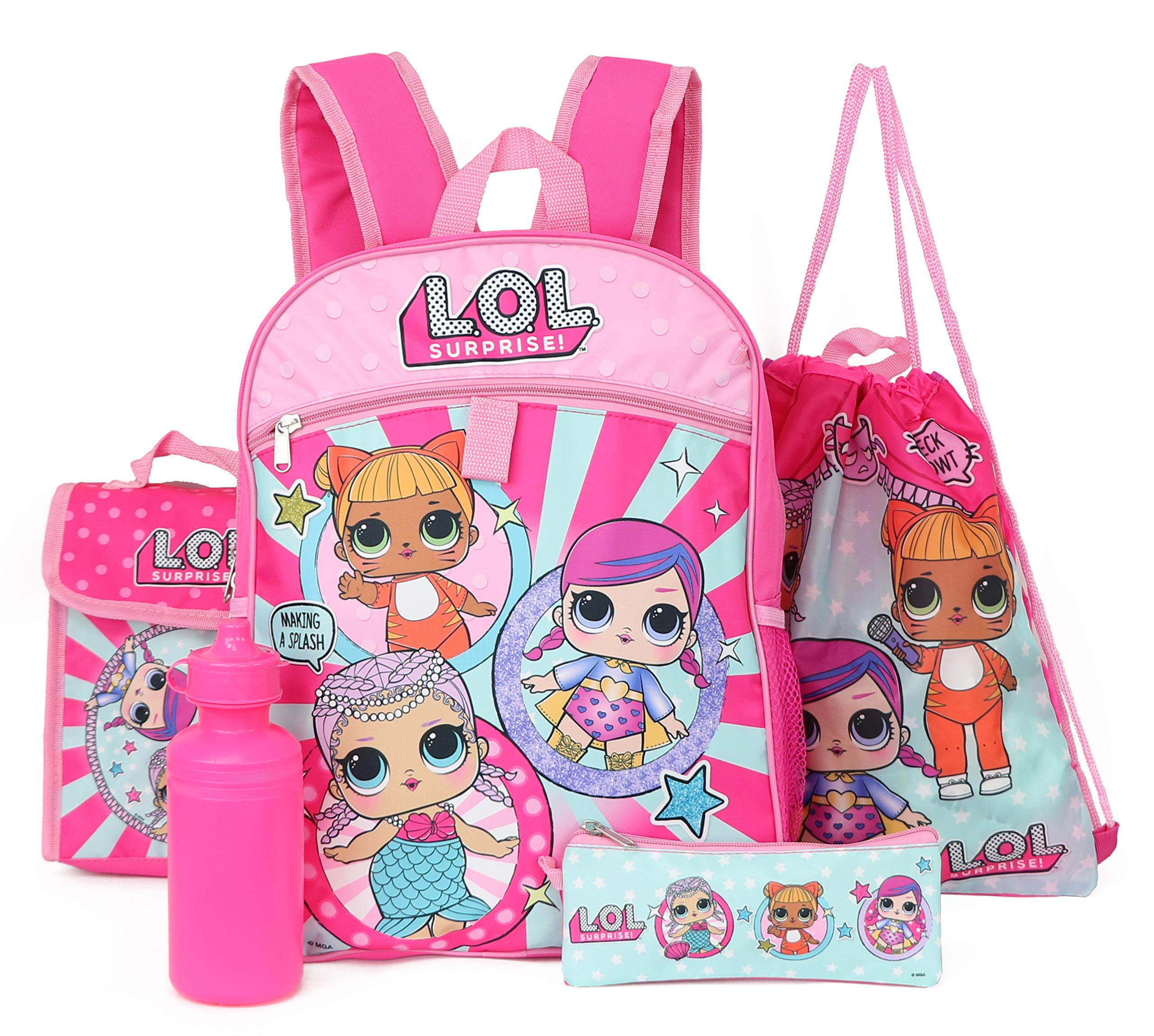 LOL Surprise 5-Piece Backpack Set - pink/multi, one size