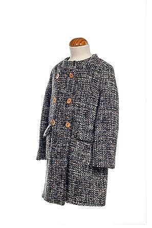 GARBANTEX Abrigo niña Vestir de Invierno Caliente Fantasia Tweed Lana: Amazon.es: Ropa y accesorios