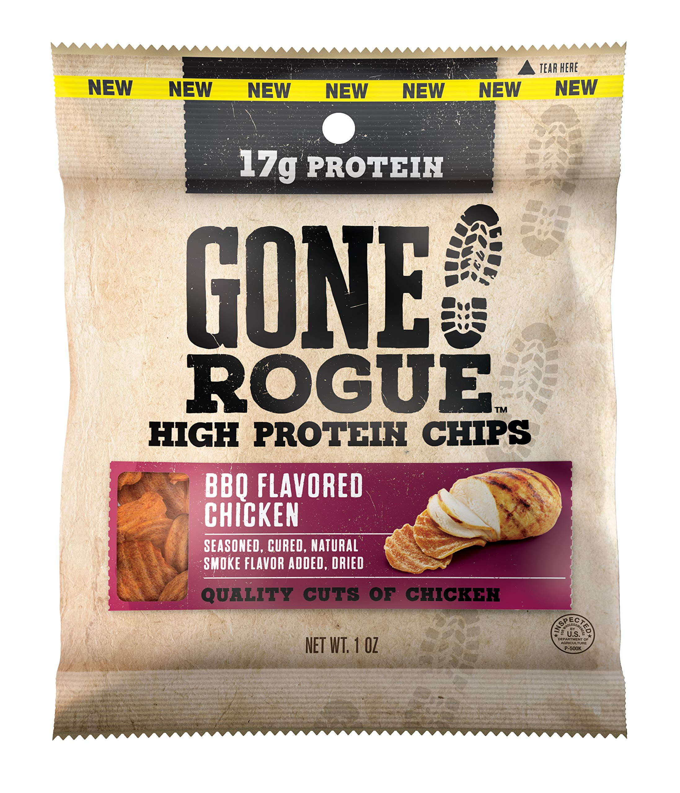 Gone Rogue High Protein BBQ Chicken Chips | Low Carb, Gluten Free Snacks | 8 pack