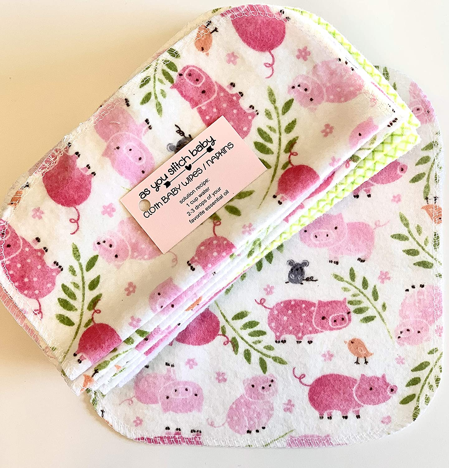 Set of 3 Dozen Wipes Reusable Cloth Napkin Baby Shower Gifts Ideas Cloth Baby Wipes Starter Kit Re Usable Cloth Wipes Pink Piggies Eco Friendly