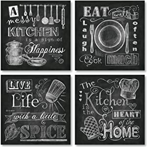 Beautiful, Fun, Chalkboard-Style Kitchen Signs; Messy Kitchen, Heart of the Home, Spice of Life, and Cook Much; Four 8x8in Paper Poster Prints (Printed on paper made to look like chalkboard)