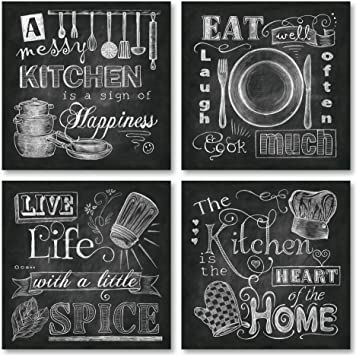 Beautiful, Fun, Chalkboard-Style Kitchen Signs; Messy Kitchen, Heart of The  Home, Spice of Life, and Cook Much; Four 12x12in Paper Posters (Printed on  ...