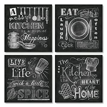 Beautiful Fun Chalkboard Style Kitchen Signs Messy Kitchen Heart Of The Home Spice Of Life And Cook Much Four 12x12in Paper Prints Printed On