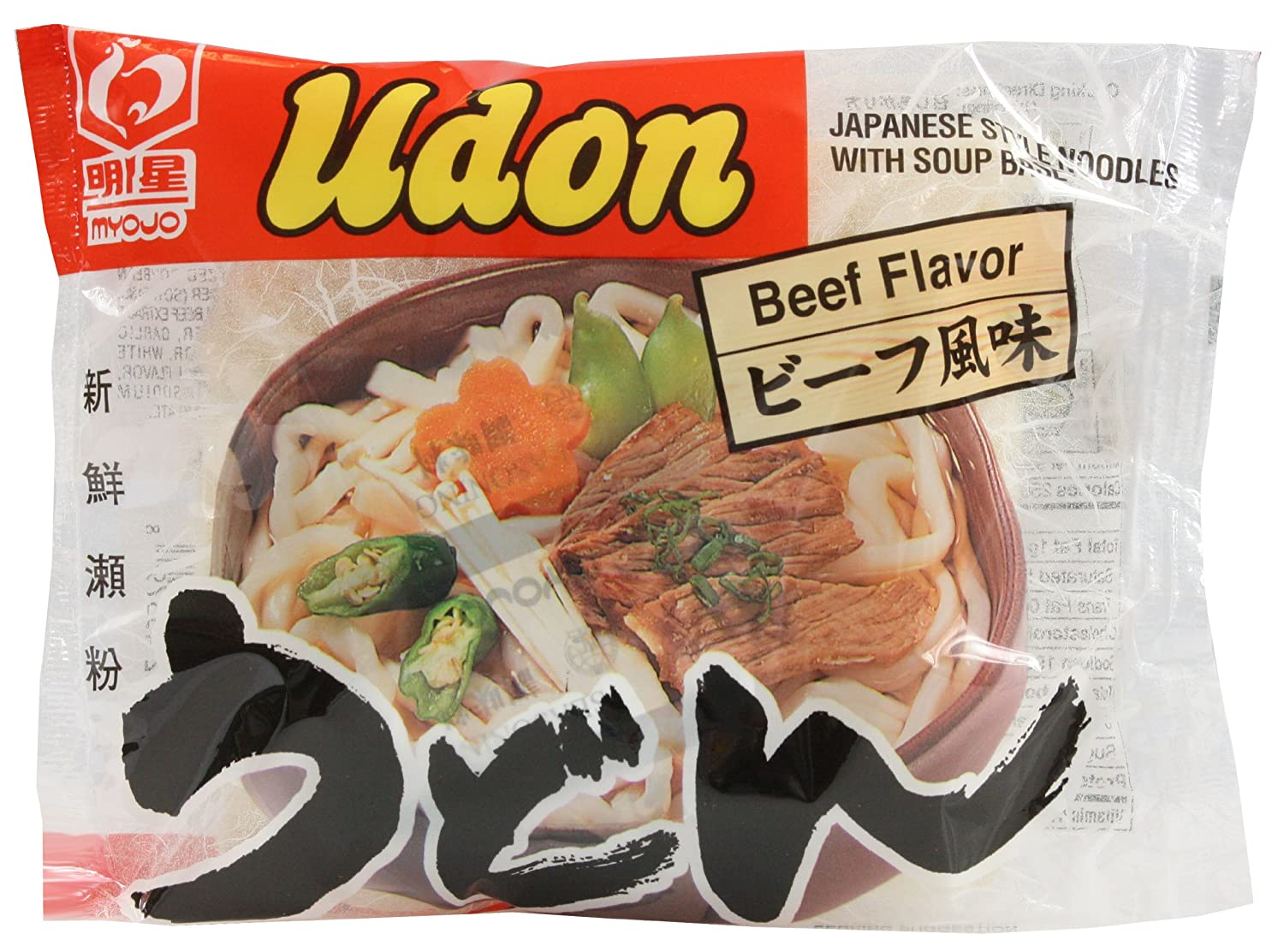 Myojo Udon Noodle Soup Mix Beef, 7.22-Ounce Packages (Pack of 30)