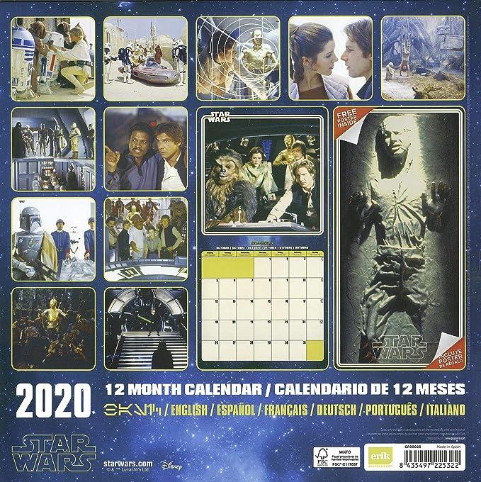 Star Wars - Calendario 2020, diseño clásico, 12 Meses ...