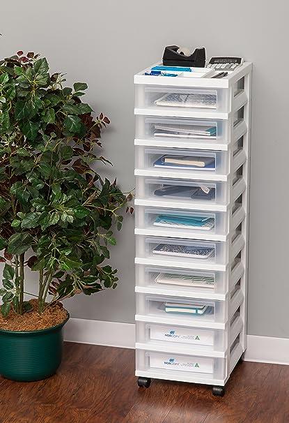 收纳架!IRIS 10层简易可移动抽屉收纳盒 白色款