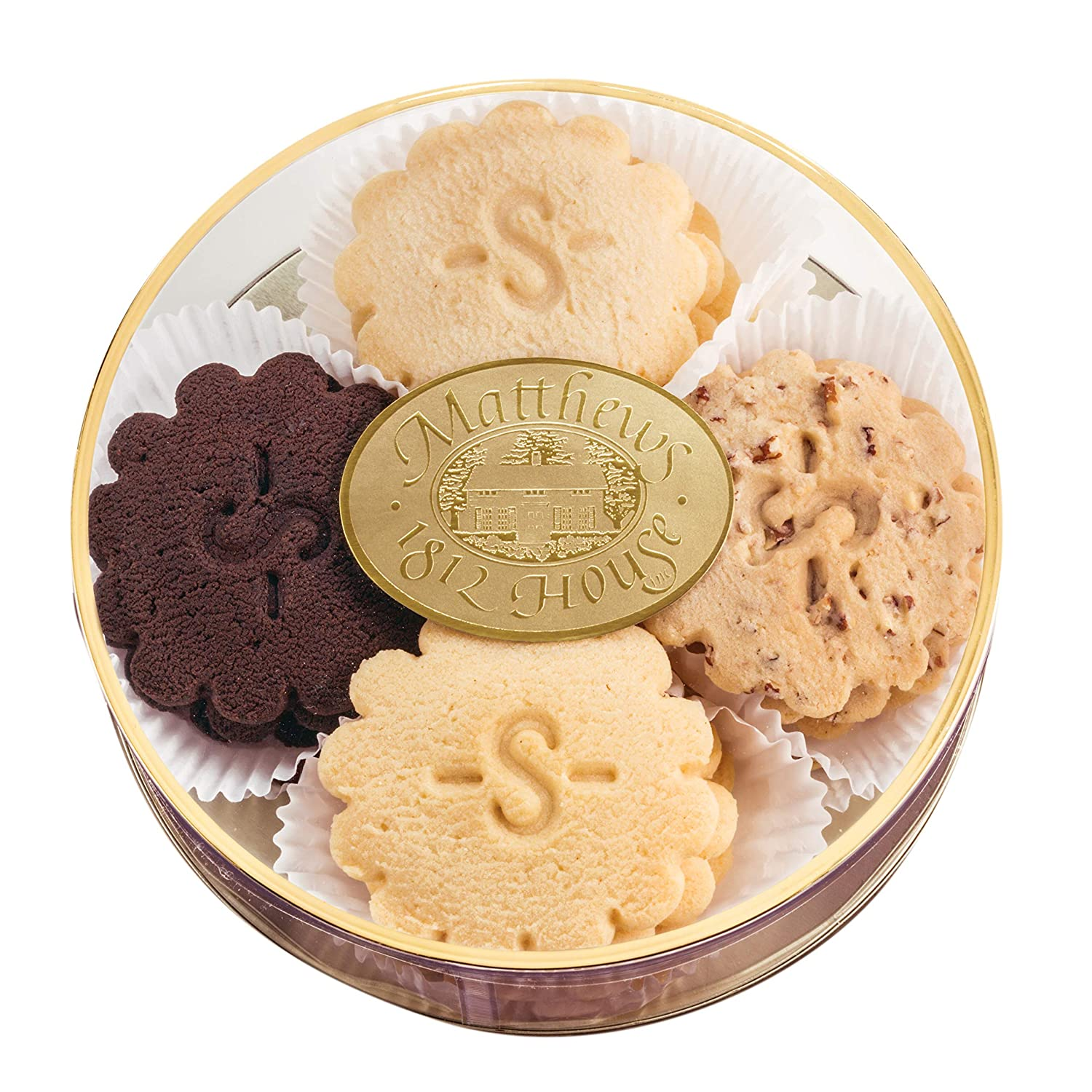 Matthews 1812 House Assorted Gourmet Sugar Free Shortbread Cookie Gift Sampler- Chocolate, Lemon, Pecan and Traditional, Small Batch, Real Butter
