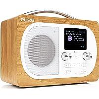 Radio portable DAB Pure – Evoke H4 – musique en streaming via Bluetooth – écran couleur riche – mise à l'heure automatique – Snooze Handle – double alarme – minuteurs – bois/chêne