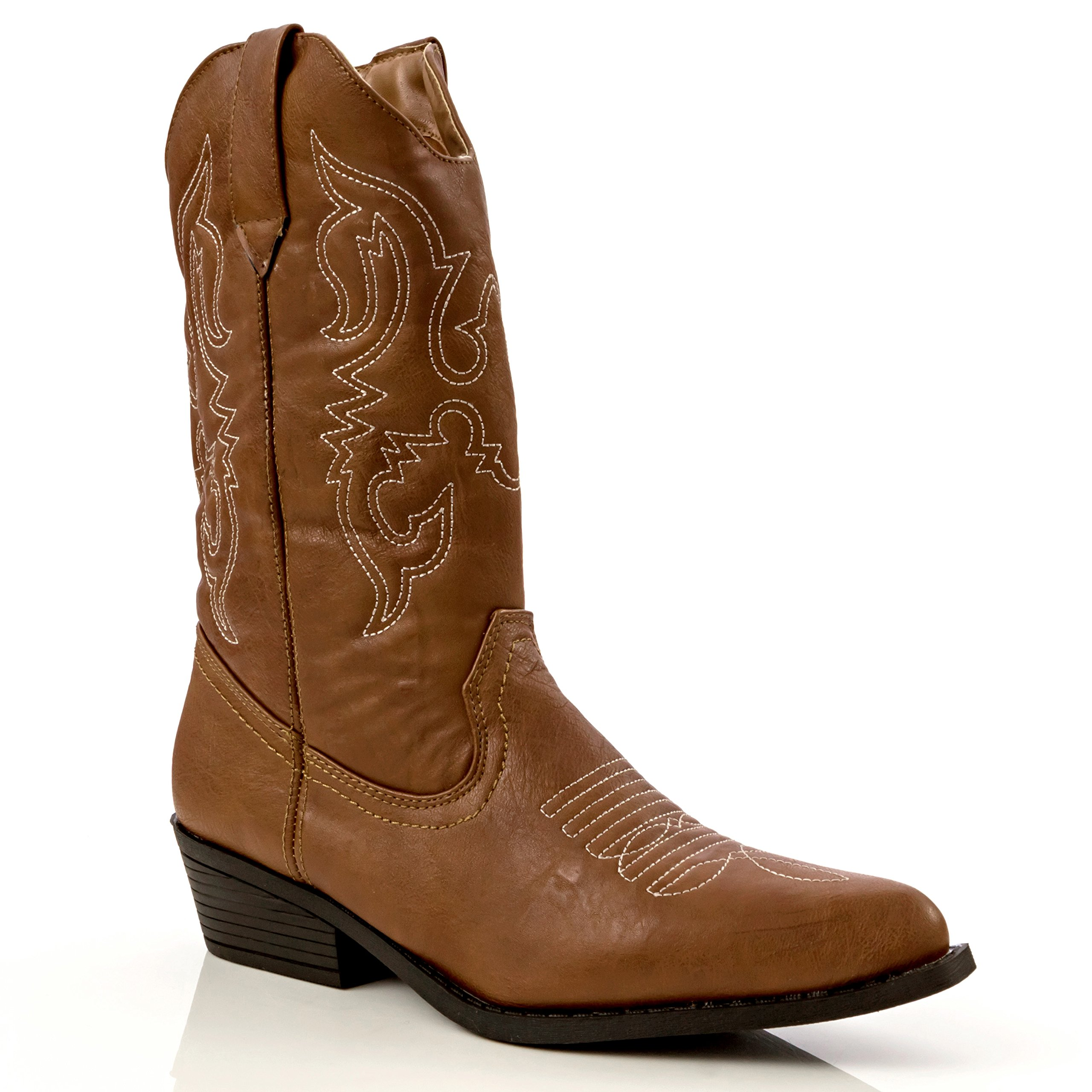 Charles Albert Women's Western Style Embroidered Cowboy Boot in Cognac Size: 6 by Charles Albert (Image #1)