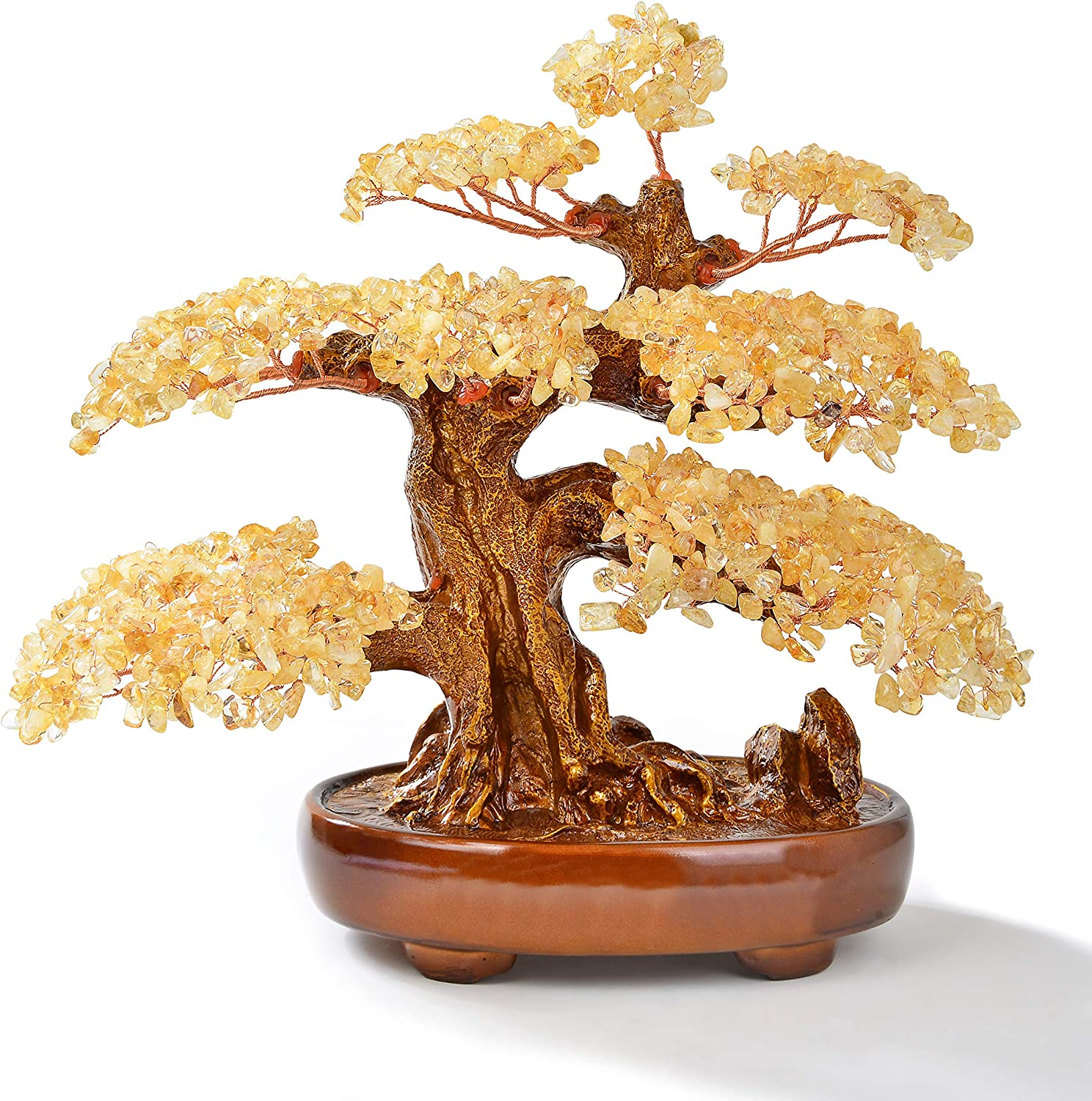 """KALIFANO Natural Citrine (1,251 Gemstone Count) Chakra Crystal Tree with Healing Properties - Bonsai Feng Shui Money Tree for Wealth and Prosperity - 14"""""""