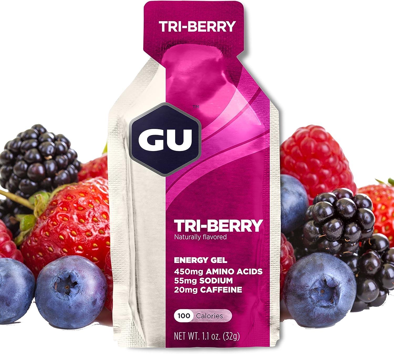 GU Energy Original Sports Nutrition Energy Gel, Tri-Berry, 24 Count Box