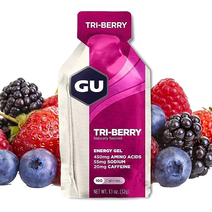 GU Energy Gel Energizante de Frutas del Bosque - Paquete de 24 x 32 gr -