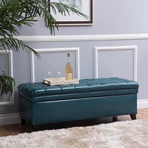 Christopher Knight Home Living Laguna Tufted Teal Storage Ottoman, 50.00D x 20.50W x 18.30H