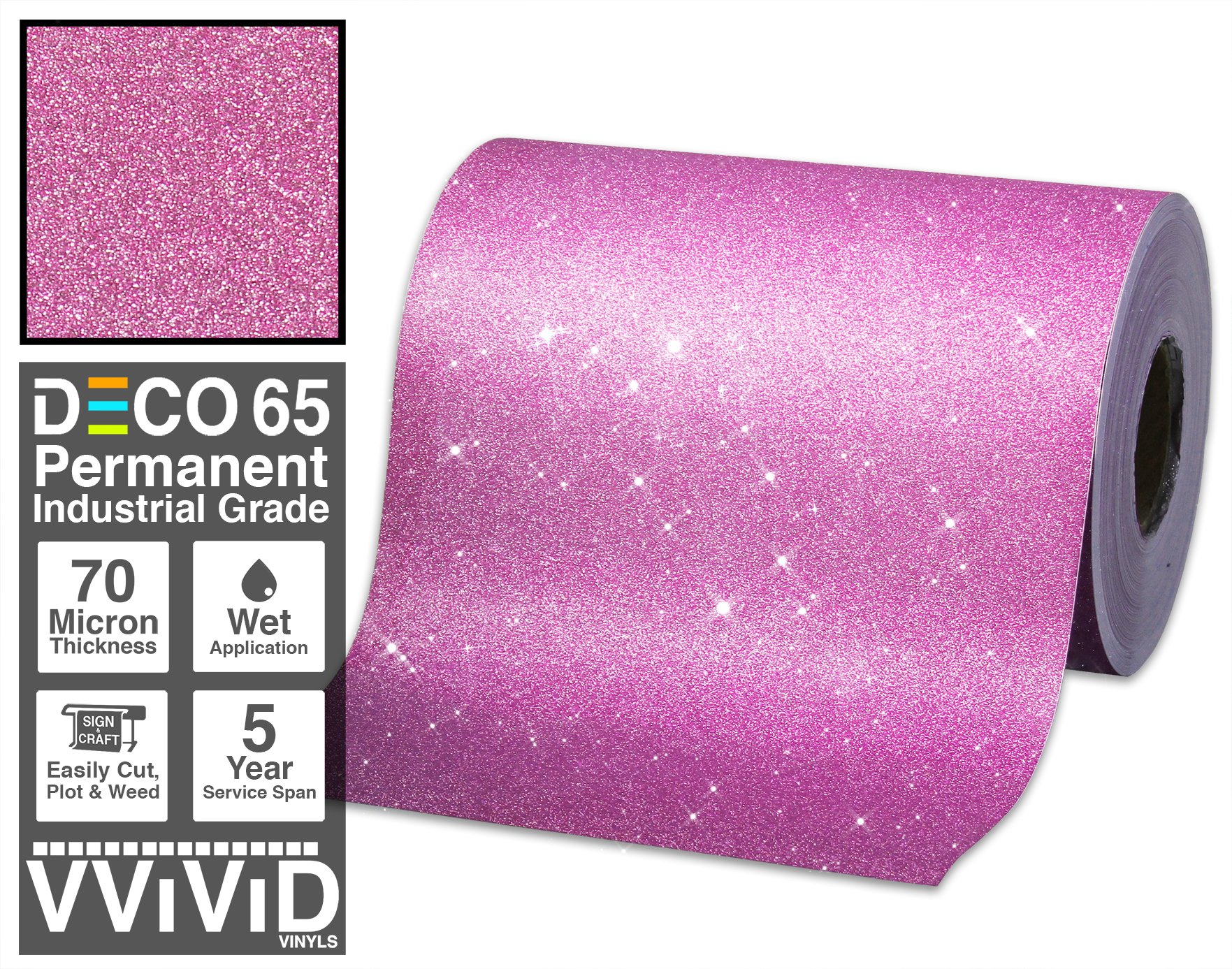 VViViD Glitter Pink DECO65 Permanent Adhesive Craft Vinyl Roll for Cricut, Silhouette & Cameo (100ft x 1ft)