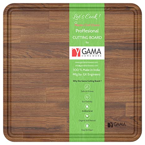 Gama Professional Solid Teak Wood Edge Grain Rectangle Cutting Board Organic And Antimicrobial Extra Large Wood Serving Tray With Drip Juice Groove