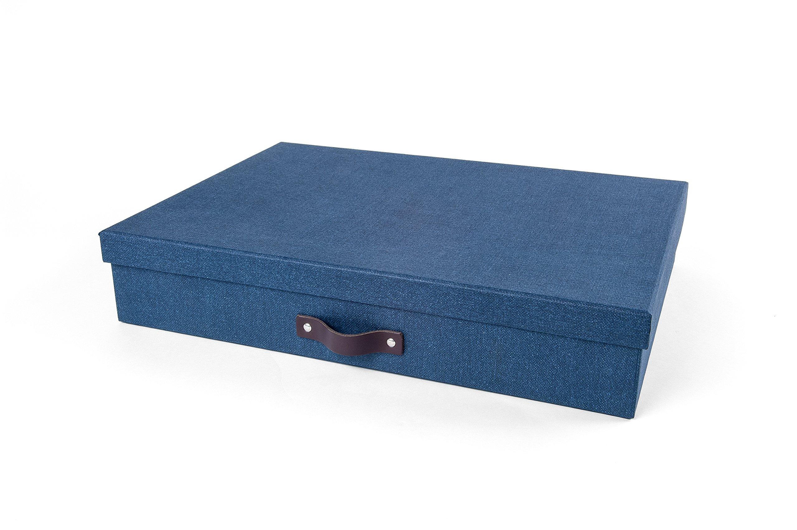 Bigso 9341C38 Sverker Canvas Paper Laminate Art Storage Box, Blue