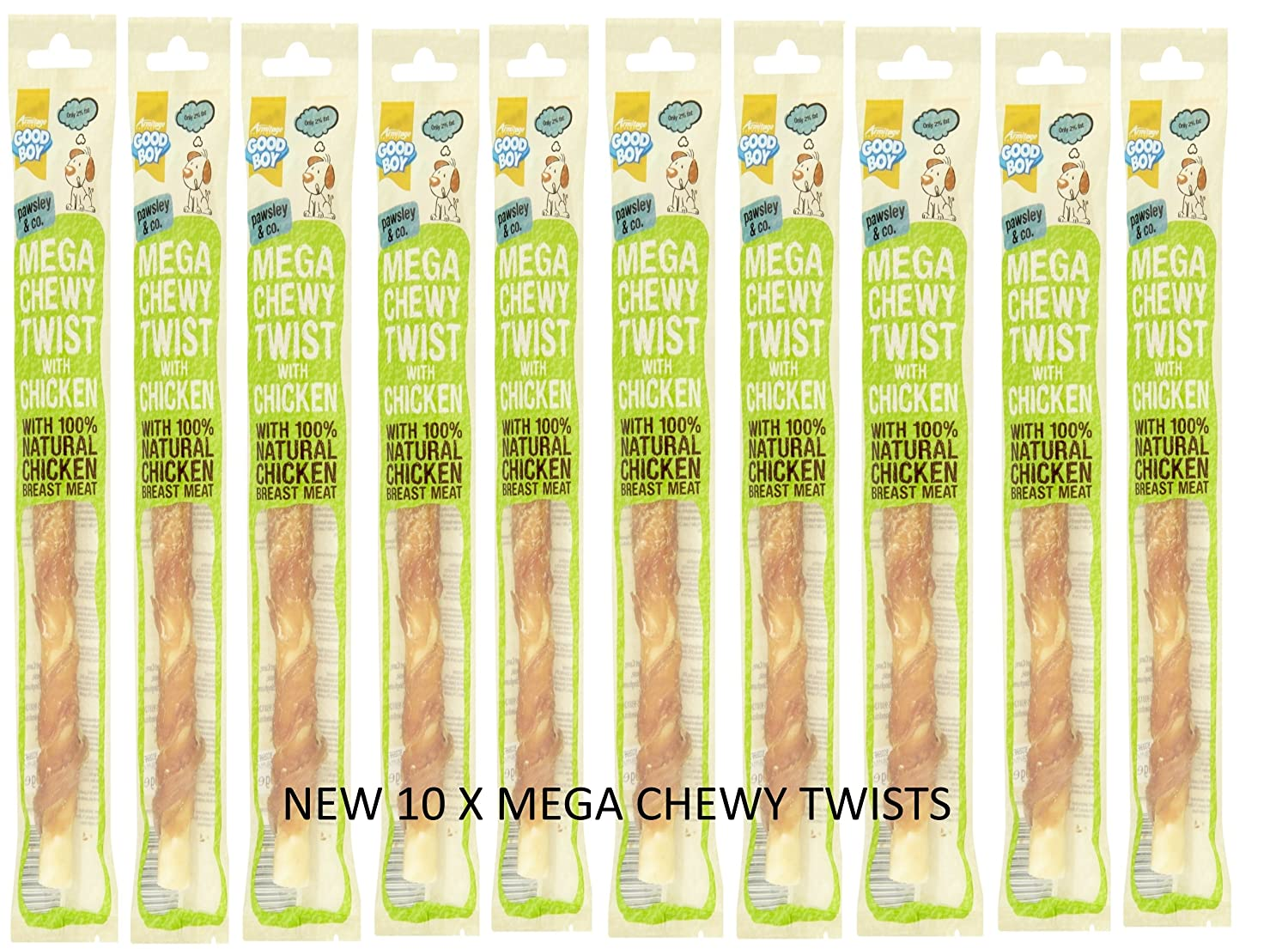10 PACK GOODBOY PAWSLEY & CO MEGA CHEWY TWISTS WITH CHICKEN ARMITAGE