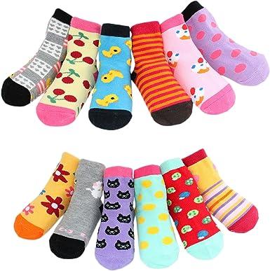 Calcetines antideslizantes para niña, multicolor, talla única para 1-3 años, juego D (pack de 12): Amazon.es: Ropa y accesorios