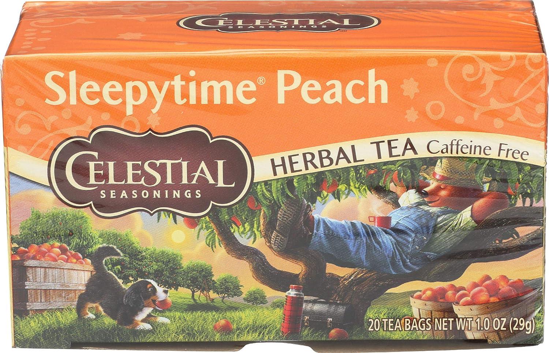 Celestial Seasonings Herbal Tea Caffeine Free Sleepytime Peach - 20 Tea Bags