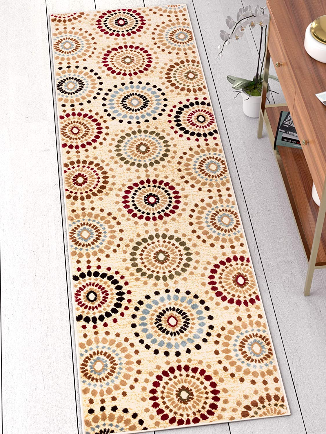 """Blossom Valley Ivory Multi Floral Nature Modern Casual Rug 2x7 (2'3"""" x 7'3"""" Runner) Easy to Clean Stain Fade Resistant Shed Free Abstract Retro Geometric Pattern Soft Living Dining Room Rug"""