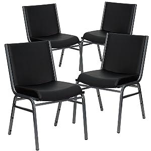 Flash Furniture 4 Pk. HERCULES Series Heavy Duty Black Vinyl Stack Chair