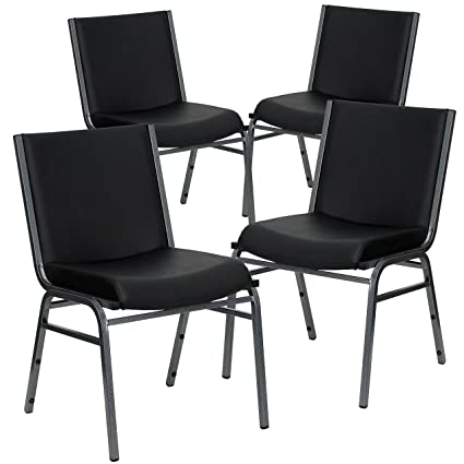 Superieur Amazon.com: Flash Furniture 4 Pk. HERCULES Series Heavy Duty Black Vinyl  Fabric Stack Chair: Kitchen U0026 Dining