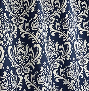 Amazon.com: Navy Blue and White Damask Drape, One Grommet Top ...
