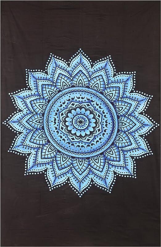 Negro y Gris Tapiz Colgante de pared tapices Mandala india ...