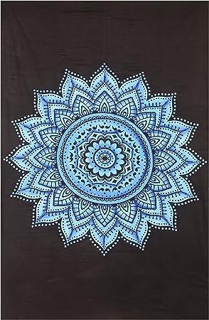 Negro y Gris Tapiz Colgante de pared tapices Mandala india tradicional algodón Impreso Bohemio hippie arte de pared grande Mandala tapiz: Amazon.es: Hogar