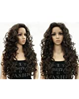 OneDor Long Hair Curly Wavy Full Head Wigs Cosplay Costume Party Hairpiece (6#-Chestnut Brown)