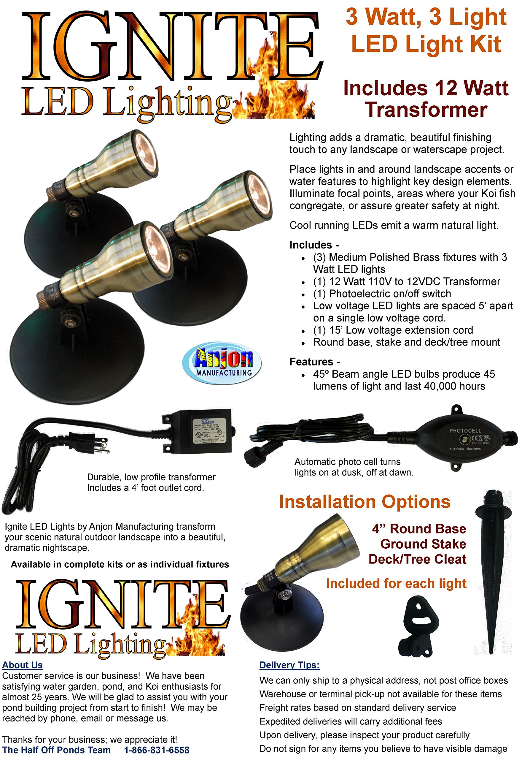 Anjon Manufacturing AB3KLED Brass LED Spot Light Kit - 3 x 3 Watt Units by Ignite