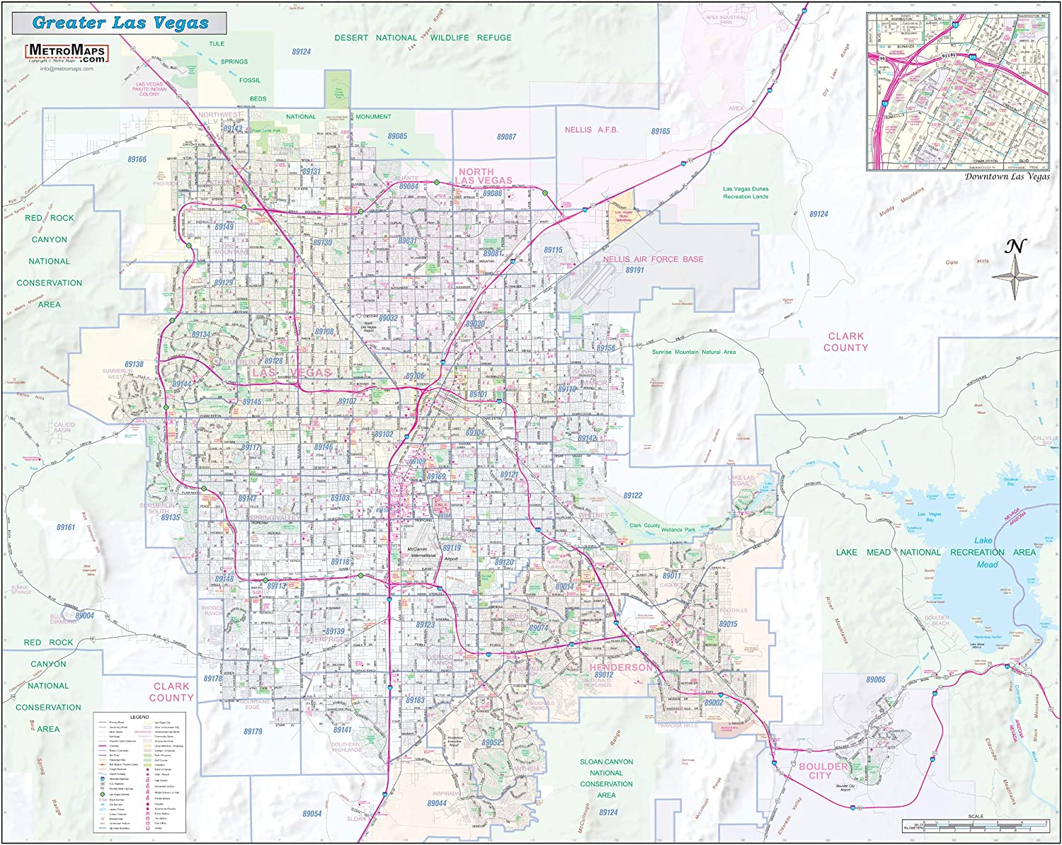 "Greater Las Vegas NV Detailed Region Wall Map (55""x44"" Laminated)"