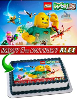 Lego Worlds Cake Topper Personalized Birthday 1 4 Sheet Decoration Custom Party Sugar