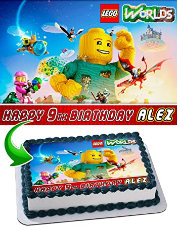 Lego Worlds Cake Topper Personalized Birthday 1 4 Sheet Decoration Custom Party Sugar