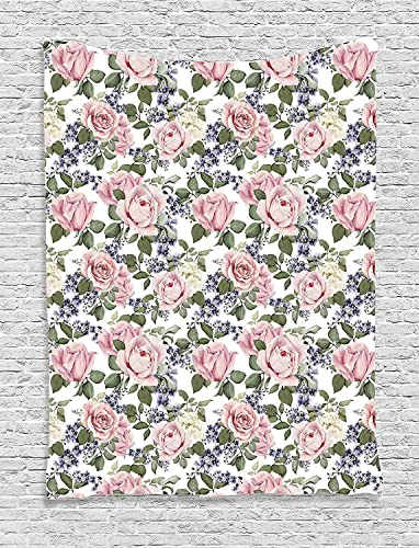 Ambesonne Rose Tapestry, Floral Pattern with Roses Leaf Peony Plant Curl Flower Watercolor Effect, Wall Hanging for Bedroom Living Room Dorm Decor, 40 X 60 , Baby Pink Green Purple