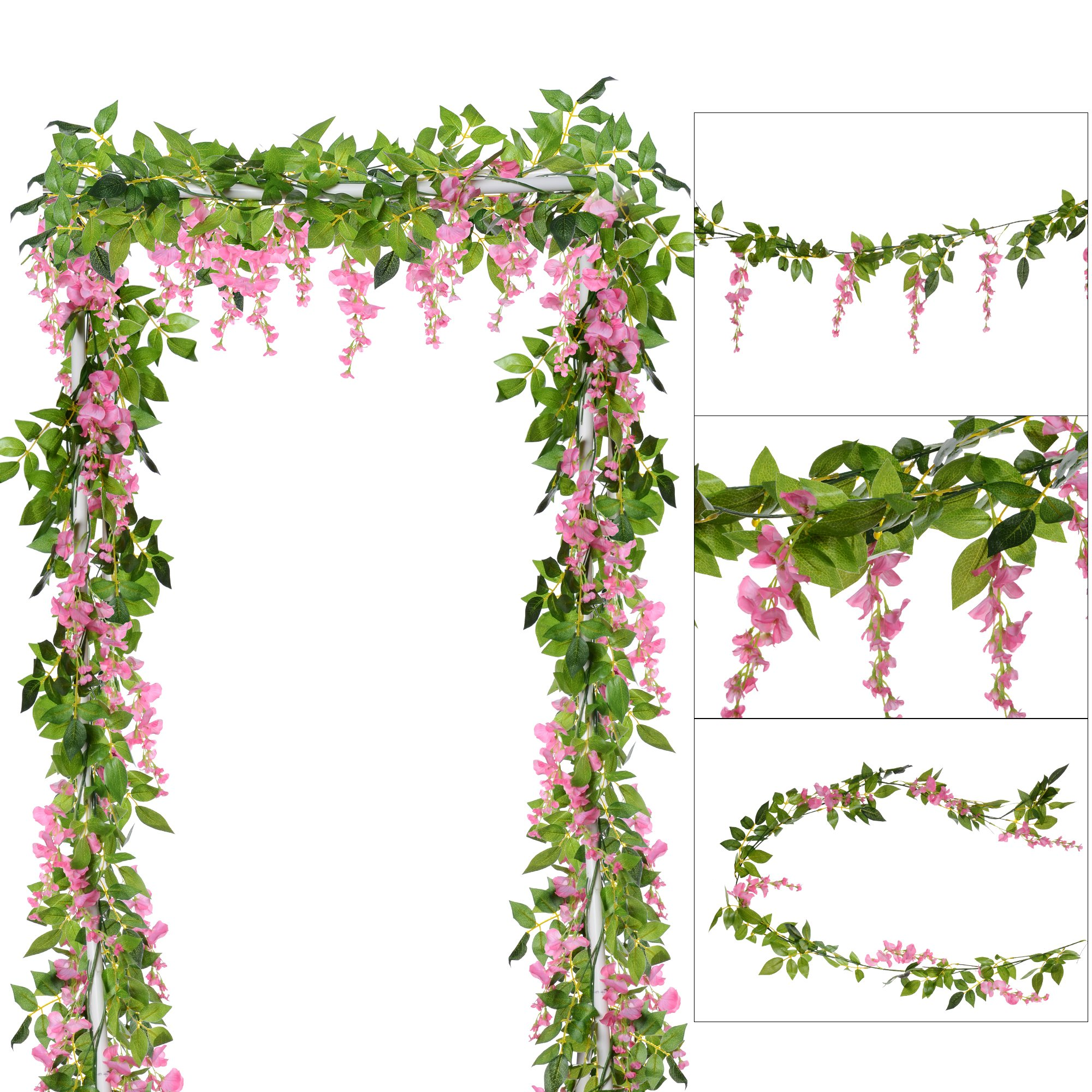 DearHouse 4Pcs 6.6Ft/piece Artificial Flowers Silk Wisteria Garland Artificial Wisteria Vine Rattan Silk Hanging Flower For Home Garden Outdoor Ceremony Wedding Arch Floral Decor(Pink)