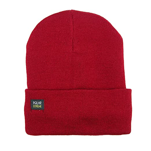 f77b126200ff4 Amazon.com  Polar Extreme Thermal Fleece Insulated Stocking Beanie Cap  (Red)  Clothing