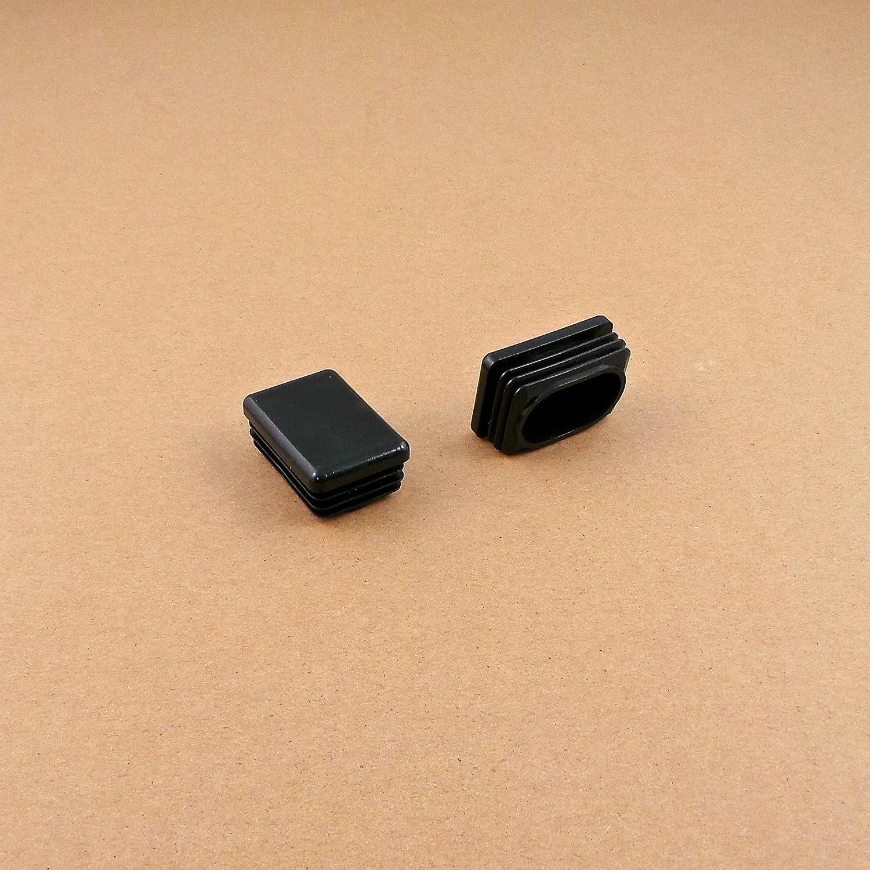 ajile NEGRO Contera acanalada para tubo rectangular 40 x 27 mm EPG140 4 piezas