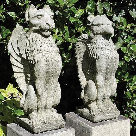 Estatuas de jardín - góticas Griffin y león esculturas de piedra: Amazon.es: Jardín