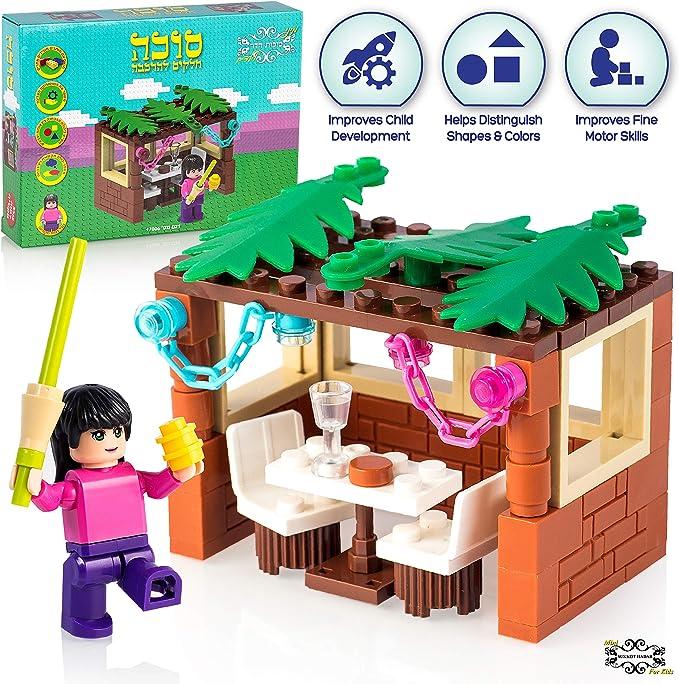 Sukkot Hadar Child's Girl Mini-Brick Sukkah Kit: 84-Piece Building Block Toy Female with Lulav, Esrog, and Dining Set in Jewish Booth, Age 6-12 Years